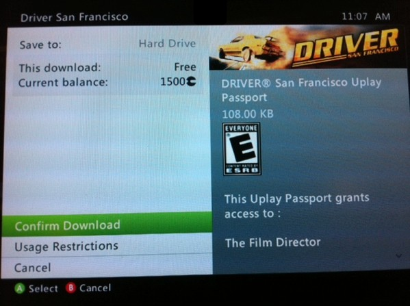 Driver: San Francisco for Xbox 360 missing Uplay Passport